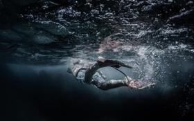 Обои вода, океан, глубина, подводная сьемка, плавец, ласта