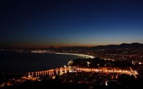 Картинка ночь, город, Италия, залив, Меркурий, Венера