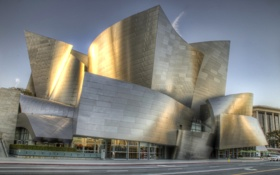 Обои Walt Disney Concert Hall, небо, Los Angeles, hdr, США, улица