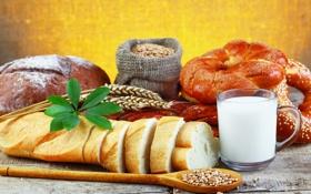 Картинка стол, молоко, чашка, колосья, булочки, лопаточка, батон