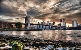 Картинка мост, город, река, HDR