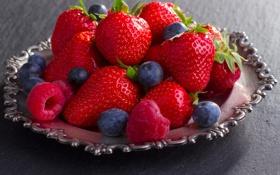 Картинка ягоды, малина, клубника, тарелка, fresh, strawberry, голубика