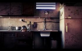 Обои кухня, человечек, спрятался, холодильник, мойка, лампочка
