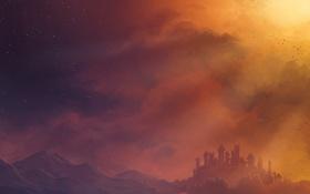 Картинка небо, звезды, горы, птицы, замок, Chromamancer