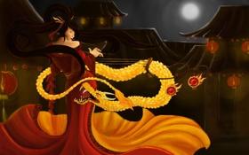 Обои взгляд, девушка, музыка, дракон, япония, арт, кимоно