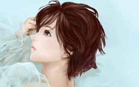 Картинка взгляд, крупный план, портрет, Девушка, короткие волосы