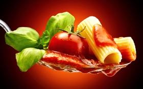 Обои зелень, макро, ложка, помидор, соус, tomatoes, макароны