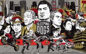 Обои оружие, дракон, Гонконг, бой, мотоцикл, Hong Kong, Sleeping Dogs