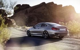 Картинка Концепт, BMW, 4 Series, Concept, Дорога, Автомобиль, Скалы