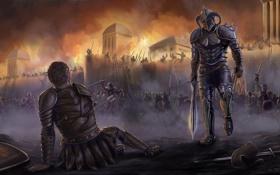 Картинка город, замок, огонь, войны, арт, битва, поле брани
