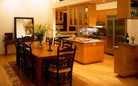 Обои дизайн, кухня, вилла, дом, интерьер, комната, стиль