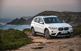 Картинка песок, море, скалы, берег, бмв, BMW, xDrive