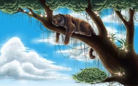 Обои облака, высота, тигр, дерево, арт, хищник, лианы