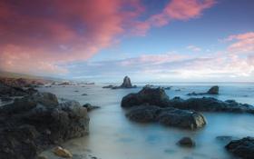 Обои море, небо, облака, камни, пейзажи, розовые