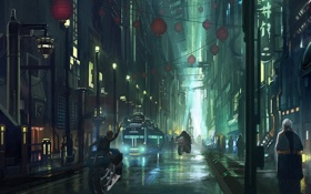 Обои город, люди, транспорт, улица, арт, мотоцикл, фонарики