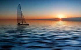 Обои море, закат, тропики, парус, штиль