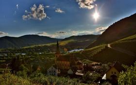Обои небо, солнце, горы, город, фото, дома, Германия