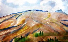 Обои облака, пейзаж, горы, Рисунок
