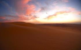 Картинка облака, закат, пустыня, сумерки