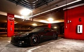Обои corvette, black, z06
