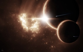 Обои звезды, туманность, планеты, nebula, spaceships