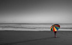 Картинка море, настроение, зонт, девочка