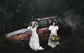 Картинка машина, девочки, ночь, настроение