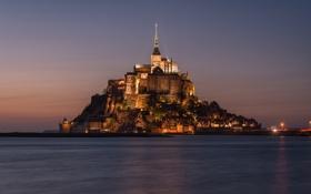 Картинка замок, Франция, остров, крепость, Мон-Сен-Мишель, Mont Saint-Michel
