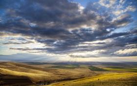 Обои облака, Орегон, солнце, холмы, лучи, поля