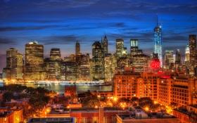Картинка ночь, огни, Нью-Йорк, Манхеттен, панорама, сумерки, Эмпайр-стейт-билдинг