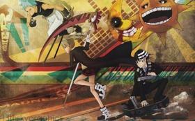 Картинка девушка, солнце, оружие, пистолеты, катана, месяц, аниме
