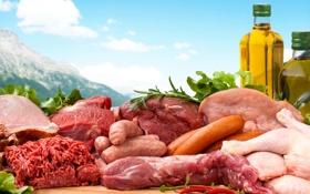 Обои фото, Бутылка, Еда, Сосиска, Мясные продукты