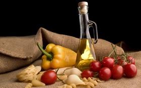 Картинка бутылка, масло, перец, натюрморт, помидоры, томаты, макароны