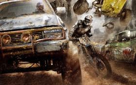 Картинка машина, гонка, грязь, мотоцикл, Apocalypse, Motorstorm