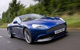 Обои Aston Martin, Авто, Дорога, Синий, Машина, Решетка, Фары