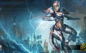 Картинка девушка, костюм, броня, киборг, Singularity, Heroes of Newerth, Moira