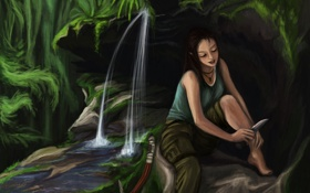 Обои вода, лицо, водопад, арт, нож, Tomb Raider, ножка