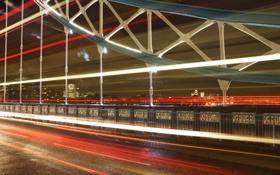 Обои мост, город, огни