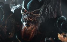 Картинка взгляд, девушка, лицо, камень, зубы, чудовище
