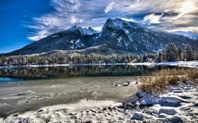 Картинка зима, лес, снег, горы, природа, озеро, отражение