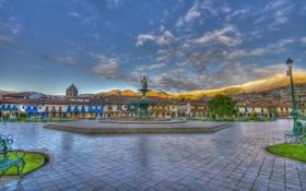 Обои небо, облака, горы, площадь, фонтан, Перу, Куско