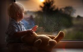 Картинка капли, отражение, игрушка, ребенок, мальчик, малыш, медведь