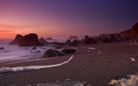 Картинка песок, море, пляж, фиолетовый, небо, закат, камни