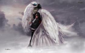 Картинка зима, девушка, снег, самолет, птица, меч, истребитель