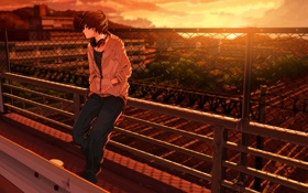 Картинка закат, наушники, парень, сидит, art, kuronokuro