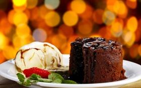 Обои сладость, клубника, пирожное, мята, брауни