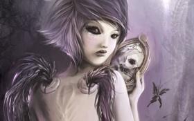 Обои зеркальце, демон, череп, арт, крылья, девушка, зеркало