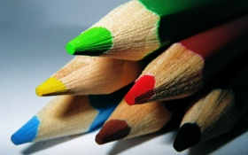 Картинка цвета, красный, жёлтый, фото, фокус, карандаши, макро обои