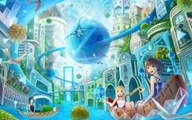 Картинка птицы, город, река, девушки, лодка, иероглифы, сферы