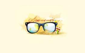Обои лето, очки, отпуск, пляж, отдых, Design, пальмы
